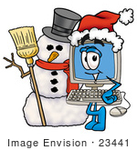 #23441 Clip Art Graphic of a Desktop Computer Cartoon Character With a Snowman on Christmas by toons4biz