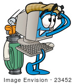 #23452 Clip Art Graphic Of A Desktop Computer Cartoon Character Swinging His Golf Club While Golfing