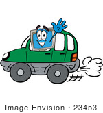 #23453 Clip Art Graphic of a Desktop Computer Cartoon Character Driving a Green Car and Waving by toons4biz