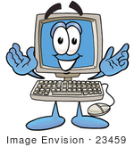 #23459 Clip Art Graphic Of A Desktop Computer Cartoon Character With Welcoming Open Arms