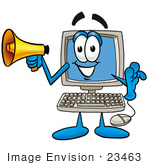 #23463 Clip Art Graphic of a Desktop Computer Cartoon Character Holding a Megaphone by toons4biz