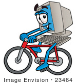 #23464 Clip Art Graphic Of A Desktop Computer Cartoon Character Riding A Bicycle