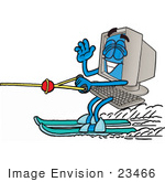 #23466 Clip Art Graphic Of A Desktop Computer Cartoon Character Waving While Water Skiing