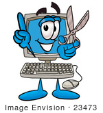 #23473 Clip Art Graphic Of A Desktop Computer Cartoon Character Holding A Pair Of Scissors