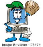 #23474 Clip Art Graphic Of A Desktop Computer Cartoon Character Catching A Baseball With A Glove