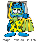 #23475 Clip Art Graphic Of A Desktop Computer Cartoon Character In Green And Yellow Snorkel Gear