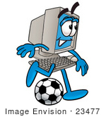 #23477 Clip Art Graphic Of A Desktop Computer Cartoon Character Kicking A Soccer Ball