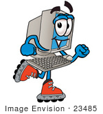 #23485 Clip Art Graphic Of A Desktop Computer Cartoon Character Roller Blading On Inline Skates