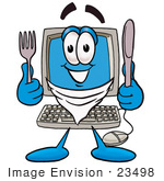 #23498 Clip Art Graphic Of A Desktop Computer Cartoon Character Holding A Knife And Fork