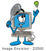 #23500 Clip Art Graphic Of A Desktop Computer Cartoon Character Preparing To Hit A Tennis Ball