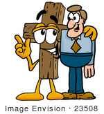 #23508 Clip Art Graphic of a Wooden Cross Cartoon Character Talking to a Business Man by toons4biz