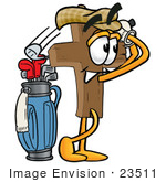 #23511 Clip Art Graphic Of A Wooden Cross Cartoon Character Leaning On A Golf Club While Golfing