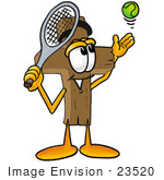 #23520 Clip Art Graphic Of A Wooden Cross Cartoon Character Preparing To Hit A Tennis Ball