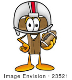 #23521 Clip Art Graphic Of A Wooden Cross Cartoon Character In A Helmet Holding A Football