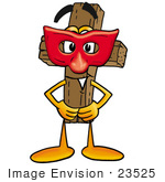 #23525 Clip Art Graphic Of A Wooden Cross Cartoon Character Wearing A Red Mask Over His Face