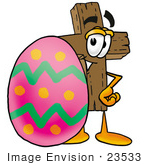 #23533 Clip Art Graphic of a Wooden Cross Cartoon Character Standing Beside an Easter Egg by toons4biz