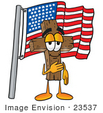 #23537 Clip Art Graphic Of A Wooden Cross Cartoon Character Pledging Allegiance To An American Flag