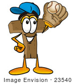 #23540 Clip Art Graphic Of A Wooden Cross Cartoon Character Catching A Baseball With A Glove