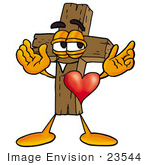 #23544 Clip Art Graphic of a Wooden Cross Cartoon Character With His Heart Beating Out of His Chest by toons4biz
