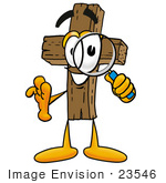 #23546 Clip Art Graphic Of A Wooden Cross Cartoon Character Looking Through A Magnifying Glass