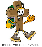 #23550 Clip Art Graphic of a Wooden Cross Cartoon Character Hiking and Carrying a Backpack by toons4biz