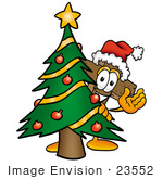 #23552 Clip Art Graphic Of A Wooden Cross Cartoon Character Waving And Standing By A Decorated Christmas Tree