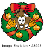 #23553 Clip Art Graphic Of A Wooden Cross Cartoon Character In The Center Of A Christmas Wreath