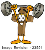 #23554 Clip Art Graphic Of A Wooden Cross Cartoon Character Holding A Heavy Barbell Above His Head