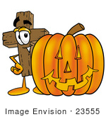 #23555 Clip Art Graphic Of A Wooden Cross Cartoon Character With A Carved Halloween Pumpkin