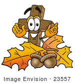 #23557 Clip Art Graphic Of A Wooden Cross Cartoon Character With Autumn Leaves And Acorns In The Fall