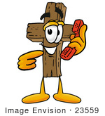 #23559 Clip Art Graphic Of A Wooden Cross Cartoon Character Holding A Telephone