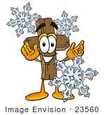 #23560 Clip Art Graphic Of A Wooden Cross Cartoon Character With Three Snowflakes In Winter