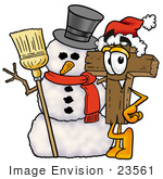 #23561 Clip Art Graphic Of A Wooden Cross Cartoon Character With A Snowman On Christmas