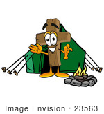 #23563 Clip Art Graphic Of A Wooden Cross Cartoon Character Camping With A Tent And Fire