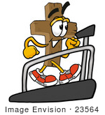 #23564 Clip Art Graphic Of A Wooden Cross Cartoon Character Walking On A Treadmill In A Fitness Gym