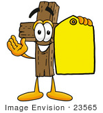 #23565 Clip Art Graphic Of A Wooden Cross Cartoon Character Holding A Yellow Sales Price Tag