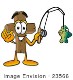 #23566 Clip Art Graphic Of A Wooden Cross Cartoon Character Holding A Fish On A Fishing Pole