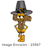 #23567 Clip Art Graphic Of A Wooden Cross Cartoon Character Wearing A Pilgrim Hat On Thanksgiving