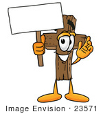 #23571 Clip Art Graphic Of A Wooden Cross Cartoon Character Holding A Blank Sign
