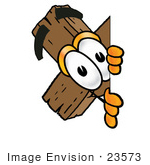#23573 Clip Art Graphic Of A Wooden Cross Cartoon Character Peeking Around A Corner