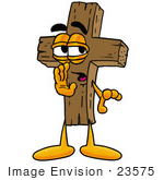 #23575 Clip Art Graphic Of A Wooden Cross Cartoon Character Whispering And Gossiping