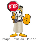 #23577 Clip Art Graphic Of A Rolled Diploma Certificate Cartoon Character Holding A Stop Sign