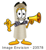 #23578 Clip Art Graphic Of A Rolled Diploma Certificate Cartoon Character Holding A Megaphone