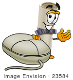 #23584 Clip Art Graphic Of A Rolled Diploma Certificate Cartoon Character With A Computer Mouse