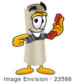 #23586 Clip Art Graphic Of A Rolled Diploma Certificate Cartoon Character Holding A Telephone