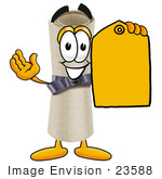 #23588 Clip Art Graphic Of A Rolled Diploma Certificate Cartoon Character Holding A Yellow Sales Price Tag
