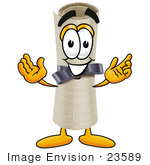 #23589 Clip Art Graphic of a Rolled Diploma Certificate Cartoon Character With Welcoming Open Arms by toons4biz