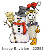 #23593 Clip Art Graphic Of A Rolled Diploma Certificate Cartoon Character With A Snowman On Christmas