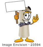 #23594 Clip Art Graphic of a Rolled Diploma Certificate Cartoon Character Holding a Blank Sign by toons4biz
