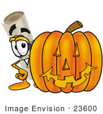 #23600 Clip Art Graphic Of A Rolled Diploma Certificate Cartoon Character With A Carved Halloween Pumpkin